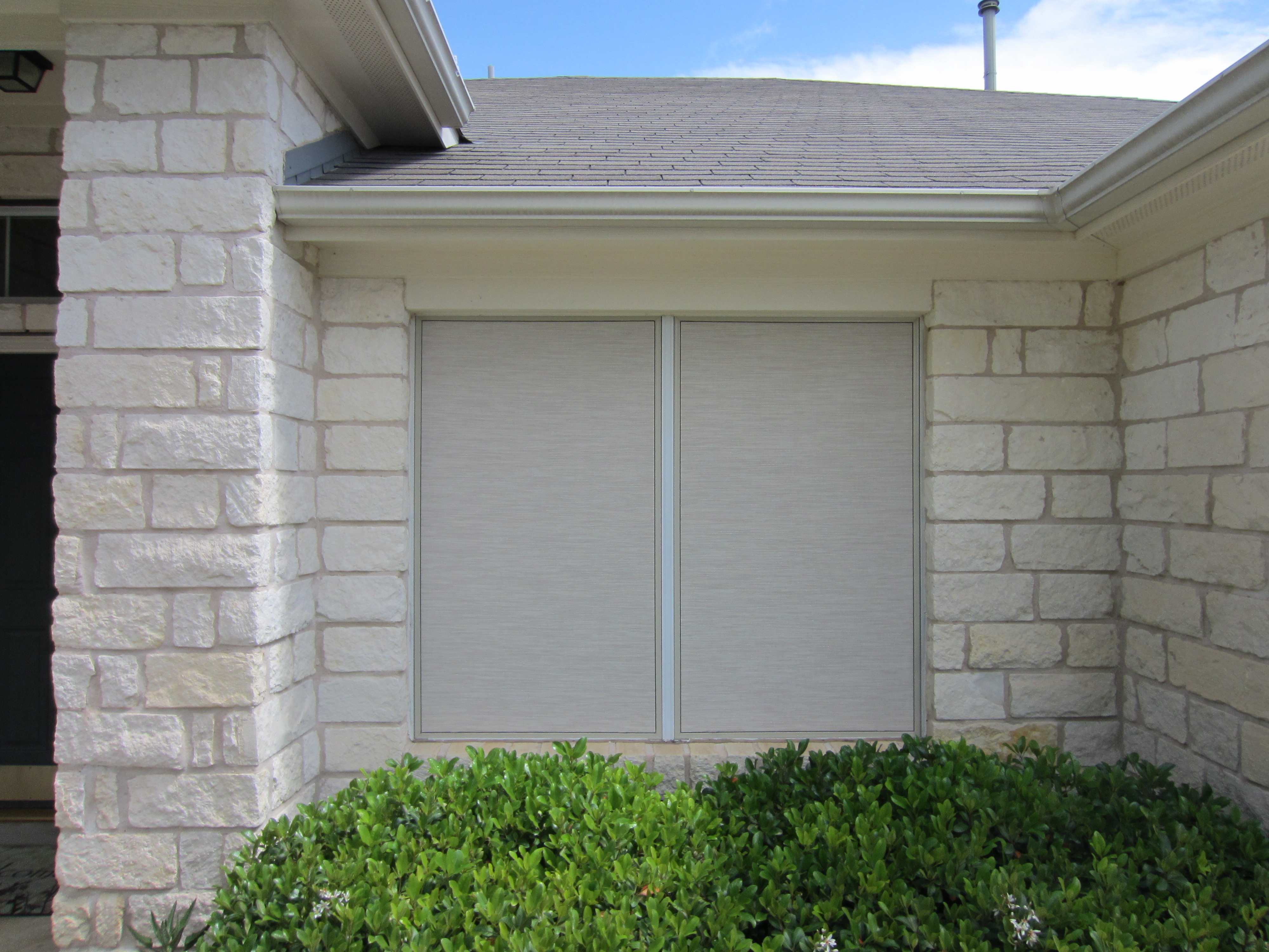 This Is A 90 Percent Stucco Solar Screen Installation With The Champagne Frame Occasionally People Will Ask Us To Put White Around